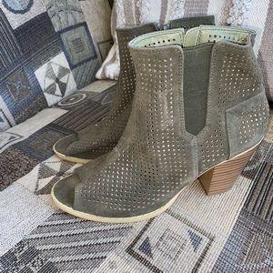Green bootie heels